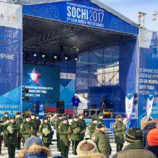 Тепловые пушки обогревали сцену на открытии эстафеты III зимних Всемирных военных игр