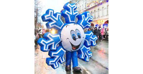большой ростовой костюм снежинки для празднования нового года