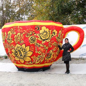 большая надувная чашка хохлома для оформления масленицы