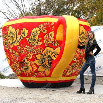 Надувная фигура чашка с хохломской росписью на ярмарку масленицу