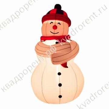 Надувная фигура с подстветкой Снеговик в шапке