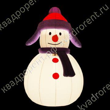 Надувная фигура с подсветкой Снеговик в ушанке