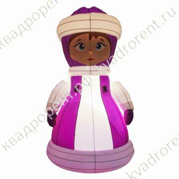 Пневмофигура надувная святящаяся снегурочка в розовом платье